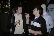Alex Larman and Ian Wright, Drinks party to launch a new Thomas Pink shirt called The Mogul which has a pocket which houses one's cigar. Hostyed by the Spectator and Thomas Pink. Floridita. Wardour St. London. 1 November 2006. -DO NOT ARCHIVE-© Copyright Photograph by Dafydd Jones 66 Stockwell Park Rd. London SW9 0DA Tel 020 7733 0108 www.dafjones.com