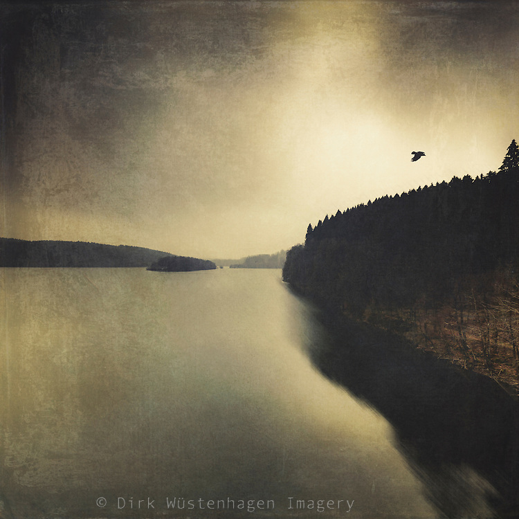 Lake and forest on a winterday - vintage processing with textures<br /> Society6 products: https://society6.com/product/quite-lake_print#1=45<br /> Redbubble prints: http://www.redbubble.com/people/dyrkwyst/works/20269746-quiet-lake?p=art-print