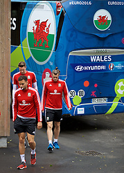 DINARD, FRANCE - Sunday, July 3, 2016: Wales' Hal Robson-Kanu and Gareth Bale arrive for a training session at their base in Dinard as they prepare for the Semi-Final match against Portugal during the UEFA Euro 2016 Championship. (Pic by David Rawcliffe/Propaganda)