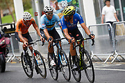 Men Road Race 230,4 km, Matteo Trentin (Italy), Wout Van Aert (Belgium), Mathieu Van Der Poel (Netherlands) , during the Cycling European Championships Glasgow 2018, in Glasgow City Centre and metropolitan areas, Great Britain, Day 11, on August 12, 2018 - Photo Luca Bettini / BettiniPhoto / ProSportsImages / DPPI - Belgium out, Spain out, Italy out, Netherlands out -