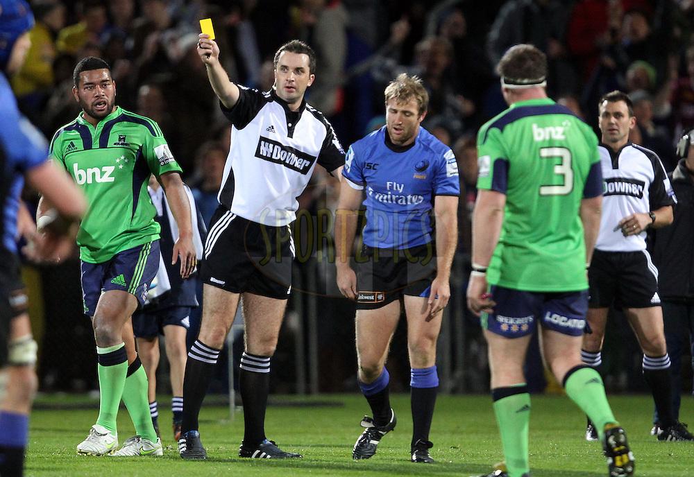 Jonathon White sends James Stannard to the sin-bin..Investec Super Rugby - Highlanders v Force, 3 June 2011, Carisbrook Stadium, Dunedin, New Zealand..Photo: Rob Jefferies / www.photosport.co.nz