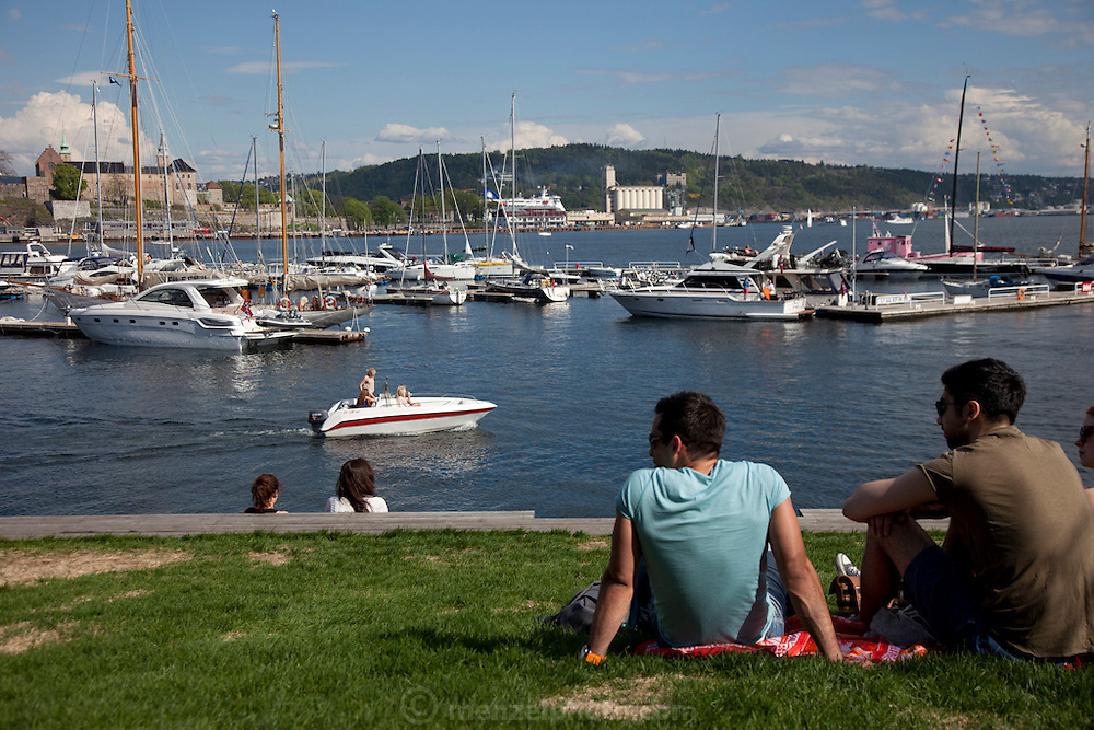 Oslo, Norway. Harbor, from Aker Brygge on a warm day in May.