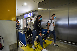 Passenger wearing face mask to prevent the spread of the new coronavirus arrive from France to the Eleftherios Venizelos International Airport in Athens, Monday, June 15, 2020. Greece is officially open to tourists as of Monday, with the first international flights expected into Athens and the northern city of Thessaloniki where passengers will not face compulsory COVID-19 tests. Seasonal hotels and museums are also opening across the country. <br /> <br /> Pictured: <br /> Dimitris Lampropoulos  | EEm date