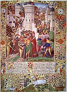 Flavius Josephus (c37-c100), Jewish historian and soldier, brought before Titus (39-81),  eldest son of Emperor Vespasian, at the siege of Jerusalem (70).  'Les antiquites judaiques', manuscript. Bibliotheque de Chantilly.