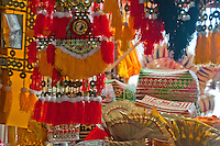 Religious decorations and supplies in the market at Klungklung in Bali Indonesia