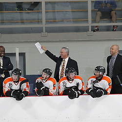 BURLINGTON, ON - SEP 9:  Orangeville Flyers bench staff during the OJHL regular season game between the Orangeville Flyers and the Burlington Cougars. Orangeville Flyers and Burlington Cougars  on September 9, 2016 in Burlington, Ontario. (Photo by Tim Bates / OJHL Images)