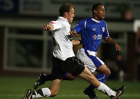 Photo: Rich Eaton.<br /> <br /> Hereford United v Leicester City. Carling Cup. 19/09/2006. Trent McClenahan left of Hereford fouls Leicesters Levi Porter in the box, gives away a penalty and is sent off