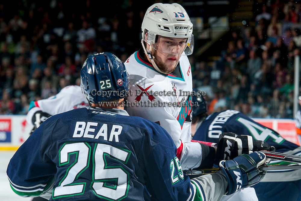 KELOWNA, CANADA - APRIL 22: Ethan Bear #25 of Seattle Thunderbirds checks Tomas Soustal #15 of Kelowna Rockets on April 22, 2016 at Prospera Place in Kelowna, British Columbia, Canada.  (Photo by Marissa Baecker/Shoot the Breeze)  *** Local Caption *** Ethan Bear; Tomas Soustal;