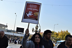 November 11, 2018 - Ankara, Turkey - A demonstrator holds up a placard during a protest for animal rights in Ankara, Turkey on November 11, 2018. (Credit Image: © Altan Gocher/NurPhoto via ZUMA Press)