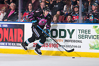 KELOWNA, BC - SEPTEMBER 21:  Dillon Hamaliuk #22 of the Kelowna Rockets moves the puck up the ice during OT against the Spokane Chiefs at Prospera Place on September 21, 2019 in Kelowna, Canada. (Photo by Marissa Baecker/Shoot the Breeze)