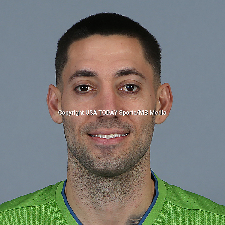 Feb 25, 2016; USA; Seattle Sounders FC player Clint Dempsey poses for a photo. Mandatory Credit: Corky Trewin-USA TODAY Sports