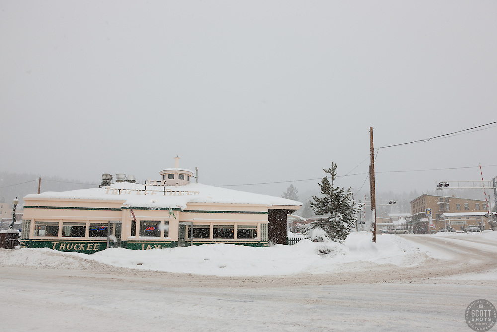 """Truckee Jax Diner 2"" - This photograph of a snow covered Jax Diner was shot in the early morning in Downtown Truckee, California."