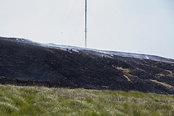 © Licensed to London News Pictures . 03/07/2018. Bolton, UK. Firefighters work on a scorched and smoking moor in the shadow of the Winter Hill transmitter mast. as part of a combined firefighting effort. Fire-fighters continue to work to contain large wildfires spreading across Winter Hill as very high temperatures , changing winds and dry peat continue to exacerbate the problem . Photo credit: Joel Goodman/LNP