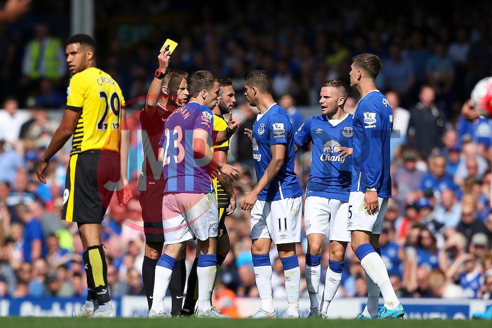 Everton's Seamus Coleman receives a yellow card  - Mandatory byline: Matt McNulty/JMP - 07966386802 - 08/08/2015 - FOOTBALL - Goodison Park -Liverpool,England - Everton v Watford - Barclays Premier League