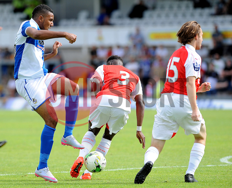 Cristian Montano of Bristol Rovers shot is blocked by Arsenal's Marc Bola and Arsenal's Harry Donovan - Photo mandatory by-line: Neil Brookman/JMP - Mobile: 07966 386802 - 18/07/2015 - SPORT - Football - Bristol - Memorial Stadium - Pre-Season Friendly
