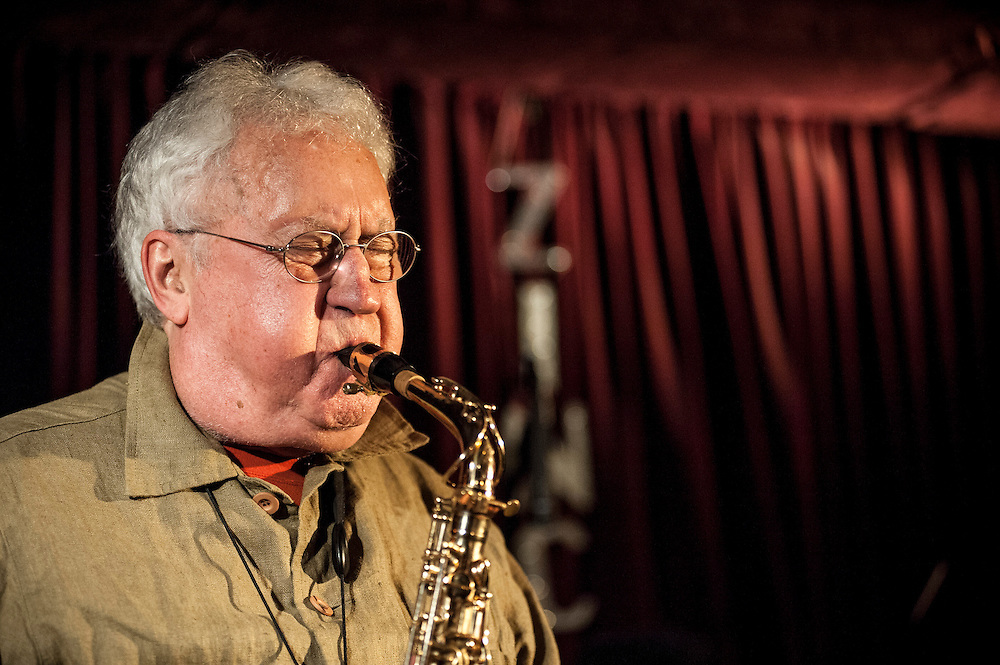 Lee Konitz plays his sax at the Zinc Bar during the 2013 Winter Jazz Fest with Dan Tepfer on piano for the duo's performance with string quartet, New York City, Friday January 11, 2013.