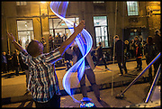 WAVE OUTSIDE THE ENTRANCE TO Kinetica Art Fair, Truman Building, Brick Lane, London. London. 16 October 2014