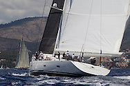 SPAIN, Palma. 22nd June 2013. Superyacht Cup. Salperton IV, 148ft/(45m), designed by Dubois, built by Fitzroy Yachts.