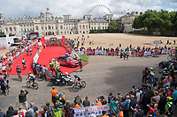 A view of the start-line as the riders prepare for the Prudential RideLondon-Surrey Classic at Horse Guards Parade 30/07/2017<br /> <br /> Photo: Bob Martin/Silverhub for Prudential RideLondon<br /> <br /> Prudential RideLondon is the world's greatest festival of cycling, involving 100,000+ cyclists – from Olympic champions to a free family fun ride - riding in events over closed roads in London and Surrey over the weekend of 28th to 30th July 2017. <br /> <br /> See www.PrudentialRideLondon.co.uk for more.<br /> <br /> For further information: media@londonmarathonevents.co.uk