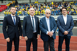 Martin Kozelj, Radenko Mijatovic, Darko Klaric and Luka Brezovec during celebration of NK Bravo, winning team in 2nd Slovenian Football League in season 2018/19 after they qualified to Prva Liga, on May 26th, 2019, in Stadium ZAK, Ljubljana, Slovenia. Photo by Vid Ponikvar / Sportida