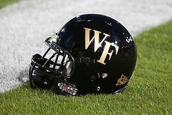 September 18, 2010; Stanford, CA, USA;  A Wake Forest Demon Deacons helmet on the field before the game against the Stanford Cardinal at Stanford Stadium. Stanford defeated Wake Forest 68-24.