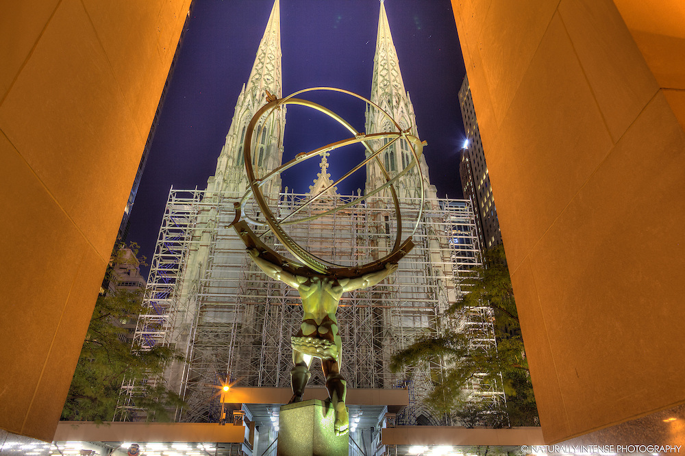 Atlas Statue & St. Patricks' Cathedral. New York City HDR Photography
