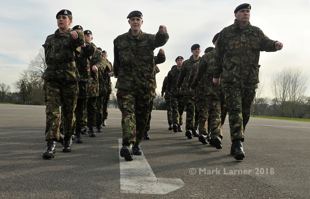 Photograph by Tpr. Mark Larner. Picture shows soldiers practicing drill for their final parade at the end of Operation TOSCA pre-deployment training at DTE Nesscliffe 14/03/2011..Op TOSCA is the British Army contribution to the United Nations peace-keeping operation in Cyprus that polices the buffer zone between the Turkish north and Greek south of the island.