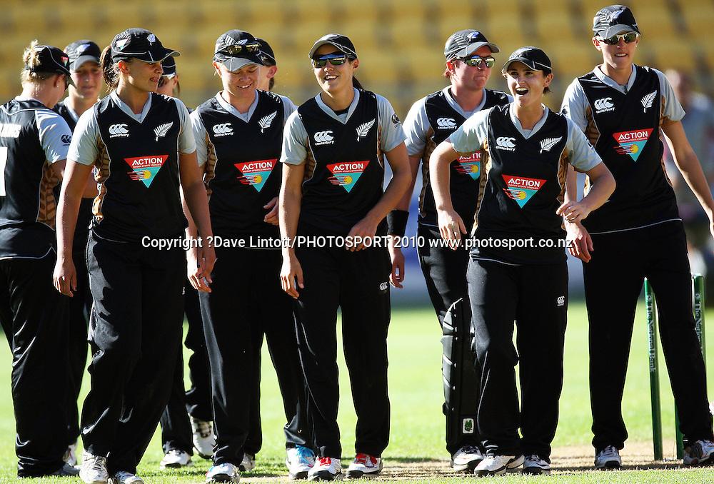 The NZ team walks off after dismissing Australia for 73.<br /> Women's International Twenty20 cricket match - New Zealand White Ferns v Australia Southern Stars at Westpac Stadium, Wellington. Friday, 26 February 2010. Photo: Dave Lintott/PHOTOSPORT