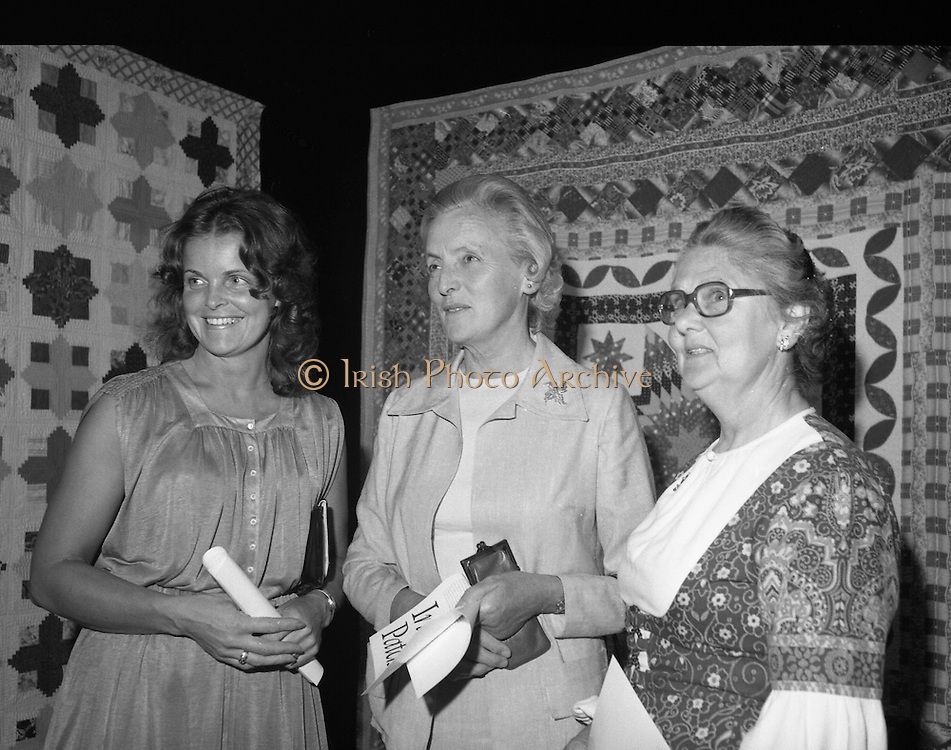 09/08/1979.08/09/1979.9th August 1979.Opening of Irish Patchwork exhibition and Presentation of the Young Designer Awards at Kilkenny Castle. Photograph shows L-R Mrs Kay Keher, wife of the regional Development Manager, A.I.B., Kilkenny, Mrs Joan Coady, (Tramore Guild, I.C.A.) and Chairman An Grianan Silver Jubilee Exhibition, with Miss Patricia Anderson, Kilkenny Federation, President I.C.A.