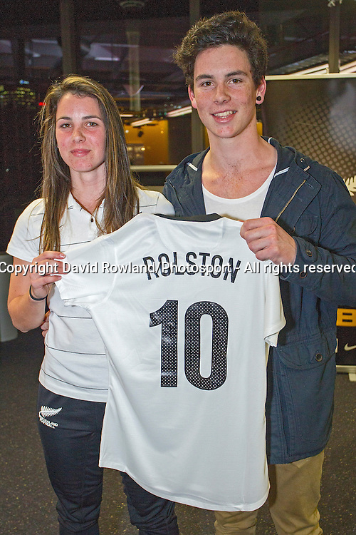 Emma Rolston  Capital Football, left, receives her jersey at the Junior Football Ferns Jersey Presentation, ASB Centre, Auckland, New ZealandTuesday, July 29, 2014.  Photo: David Rowland/Photosport