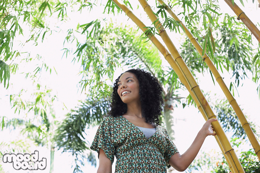 Woman in bamboo forest low angle view