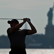 August 23, 2013:   Martin Laird (SCO) drives off the 15th tee with the Statue of Liberty in the back ground during the continuation of the first round of The Barclays Fed Ex  Championship at Liberty National Golf Course in Jersey City, NJ.  Kostas Lymperopoulos/csm  (Credit Image: © Kostas Lymperopoulos/Cal Sport Media)