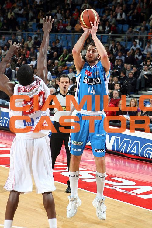 DESCRIZIONE : Pesaro Lega A1 2007-08 Scavolini Spar Pesaro Eldo Napoli<br />GIOCATORE : Simone Flamini<br />SQUADRA : Eldo Napoli<br />EVENTO : Campionato Lega A1 2007-2008 <br />GARA : Scavolini Spar Pesaro Eldo Napoli<br />DATA : 08/03/2008 <br />CATEGORIA : Tiro<br />SPORT : Pallacanestro <br />AUTORE : Agenzia Ciamillo-Castoria/G.Ciamillo