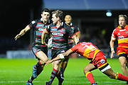 Back pass from Chris Dean leads to try from Kinghorn Blair during the Guinness Pro 14 2017_18 match between Edinburgh Rugby and Dragons Rugby at Myreside Stadium, Edinburgh, Scotland on 8 September 2017. Photo by Kevin Murray.