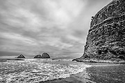 Monochrome view of the sea stacks at Oceanside, Oregon