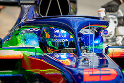 February 19, 2019 - Montmelo, Barcelona, Catalonia, Spain - Barcelona-Catalunya Circuit, Montmelo, Catalonia, Spain - 19/02/2018: Detail of Alex Albon (Scuderia Toro Rosso Honda) with the new STR14 car during second journey of F1 Test Days in Montmelo circuit. (Credit Image: © Javier Martinez De La Puente/SOPA Images via ZUMA Wire)