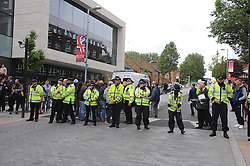© Licensed to London News Pictures. 23/05/2013.Woolwich Soldier Murder.Protesters and police in Woolwich town Centre( today 23.05.2013).Woolwich 'terrorist attack': One dead and two seriously injured. Woolwich Barracks,Woolwich..Photo credit :Grant Falvey/LNP