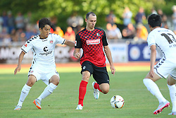 14.07.2015, Zeppelinstadion, Friedrichshafen, GER, Testspiel, FC St. Pauli vs SC Freiburg, im Bild Ryo Miyaichi ( FC St.Pauli ) rechts Nicolas Hoefler ( SC Freiburg ) // during a preperation Football Match between FC St. Pauli vs SC Freiburg at the Zeppelinstadion in Friedrichshafen, Germany on 2015/07/14. EXPA Pictures © 2015, PhotoCredit: EXPA/ Eibner-Pressefoto/ Langer<br /> <br /> *****ATTENTION - OUT of GER*****
