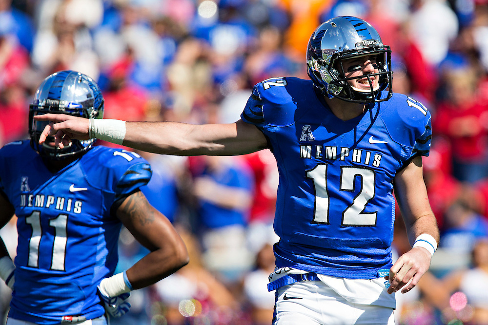 MEMPHIS, TN - OCTOBER 17:  Paxton Lynch #12 of the Memphis Tigers yells signals during a game against the Ole Miss Rebels at Liberty Bowl Memorial Stadium on October 17, 2015 in Memphis, Tennessee.  The Tigers defeated the Rebels 37-24.  (Photo by Wesley Hitt/Getty Images) *** Local Caption ***  Paxton Lynch
