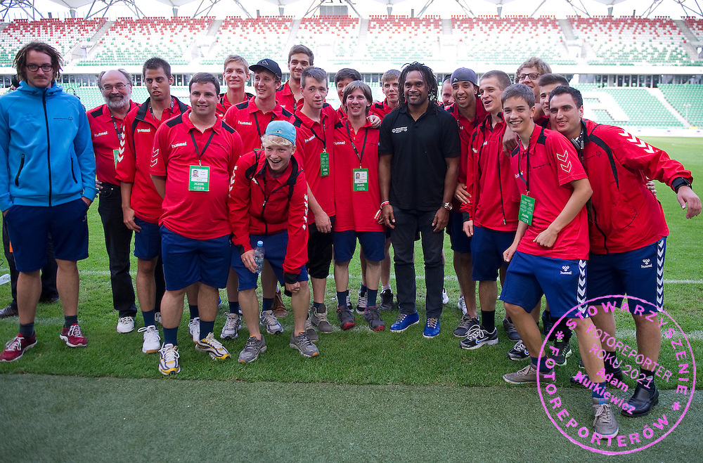 Christian Karembeu - Special Olympics Ambassador  former French soccer player and current scout for Arsenal Football Club and SO Austria team (red) during the 2013 Special Olympics European Unified Football Tournament in Warsaw, Poland.<br /> <br /> Poland, Warsaw, June 08, 2012<br /> <br /> Picture also available in RAW (NEF) or TIFF format on special request.<br /> <br /> For editorial use only. Any commercial or promotional use requires permission.<br /> <br /> <br /> Mandatory credit:<br /> Photo by © Adam Nurkiewicz / Mediasport