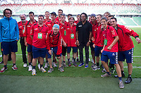 Christian Karembeu - Special Olympics Ambassador  former French soccer player and current scout for Arsenal Football Club and SO Austria team (red) during the 2013 Special Olympics European Unified Football Tournament in Warsaw, Poland.<br /> <br /> Poland, Warsaw, June 08, 2012<br /> <br /> Picture also available in RAW (NEF) or TIFF format on special request.<br /> <br /> For editorial use only. Any commercial or promotional use requires permission.<br /> <br /> <br /> Mandatory credit:<br /> Photo by &copy; Adam Nurkiewicz / Mediasport