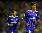 SEVILLE, SPAIN - OCTOBER 15:  Raphael Varane of Real Madrid CF celebrates after scoring during the match between Real Betis Balompie and Real Madrid CF as part of La Liga at Benito Villamrin stadium October 15, 2016 in Seville, Spain.  (Photo by Aitor Alcalde /Getty Images)