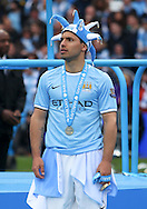 Sergio Aguero of Manchester City celebrates winning the  Barclays Premier League at the Etihad Stadium, Manchester<br /> Picture by John Rainford/Focus Images Ltd +44 7506 538356<br /> 11/05/2014