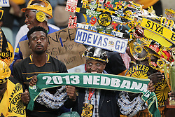 21042018 (Durban) Kaizer Chiefs take on Free State Stars in the first Semi-Final at the Moses Mabhida Stadium On Saturday evening. Fans sing and dance as their favourite teams are clashing against each other.<br /> Picture: Motshwari Mofokeng/ANA