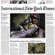 "THE INTERNATIONAL NEW YORK TIMES. ""Deadly Illness in Nicaragua Baffles Experts"" by Heather Murphy, Pg A1. MAY 8, 2014"