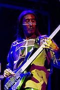 """Jeremías López """"Sipoj"""", Hamac Caziim's bassist performing in a concert in Museo del Chopo."""