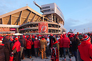 Jan 20, 2019; Kansas City, MO, USA; A general view of Arrowhead Stadium is seen as both Kansas City Chiefs and New England Patriots fans wait in line to enter the stadium prior to the start of the AFC Championship game at Arrowhead Stadium. The Patriots defeated the Chiefs 37-31 in overtime to advance to their fifth Super Bowl in eight seasons. (Robin Alam/Image of Sport)