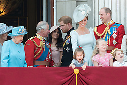 © Licensed to London News Pictures. 09/06/2018. London, UK. QUEEN ELIZABETH II, PRINCE CHARLES, The DUKE OF SUSSEX and MEGHAN DUCHESS OF SUSSEX, CATHERINE DUCHESS OF CAMBRIDGE, PRINCESS CHARLOTTE the DUKE OF CAMBRIDGE on the balcony of Buckingham Palace after attending Trooping The Colour ceremony in London. This years event is part of a weekend of celebration to mark the 92th birthday of Queen Elizabeth II, who is Britain's longest reigning monarch.Photo credit: Ray Tang/LNP