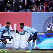 NEW YORK, NEW YORK - March 18: Rodney Wallace, (right), #23 of New York City FC celebrates with team mates Ronald Matarrita #22 of New York City FC after scoring during the New York City FC Vs Montreal Impact regular season MLS game at Yankee Stadium on March 18, 2017 in New York City. (Photo by Tim Clayton/Corbis via Getty Images)