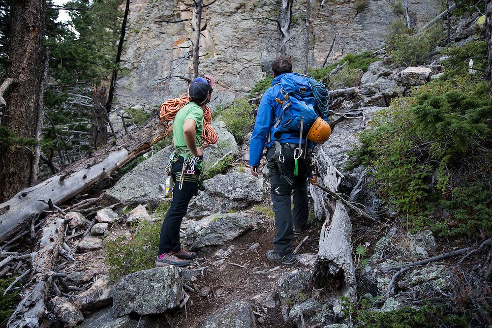 Jonathan Thompson (blue jacket) and our climbing guide Brett Bloxom assess the climb for a night of cliff camping